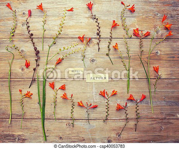 HELLO AUTUMN printed on vintage paper with wreath frame with crocosmia flowers