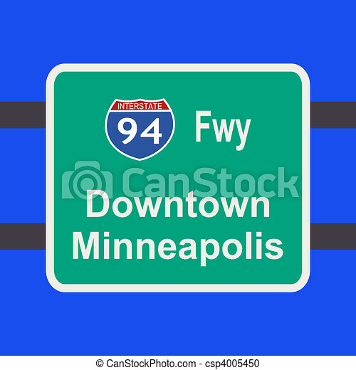 freeway to Minneapolis sign - csp4005450