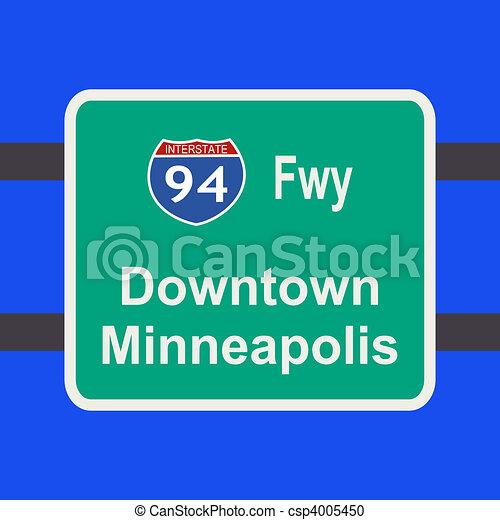 freeway to Minneapolis sign - csp4005450