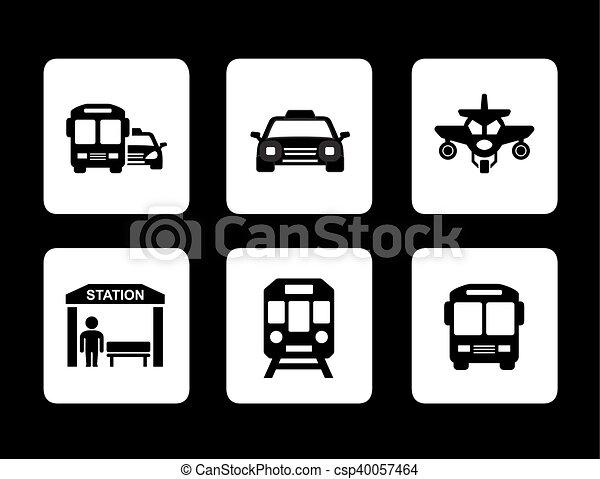 set of black transport icons - csp40057464