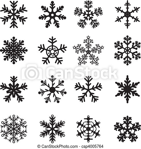 Black and White Snowflakes Set - csp4005764
