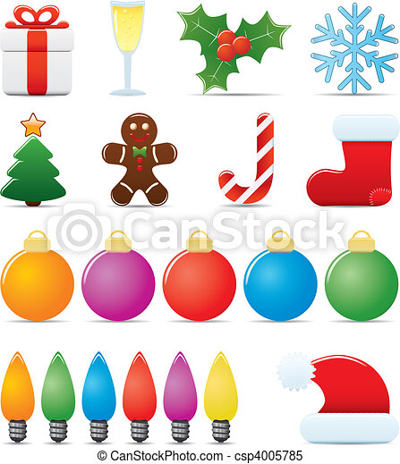 Clipart Vector Of Christmas Icon Set Easy To Edit Vector