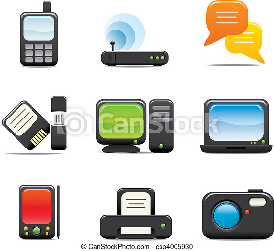 Electronic Computer Icon Set One - csp4005930
