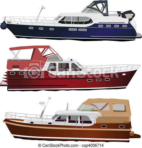 EPS Vector of Motor boats - Middle size sea motor yachts. Vector ...