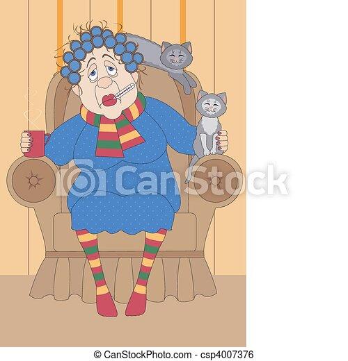 old sick woman  - csp4007376