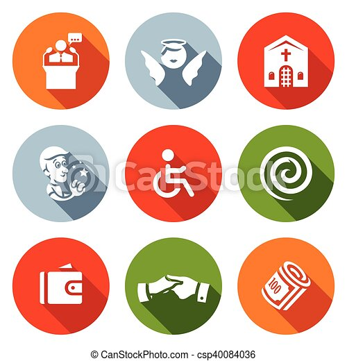 Vector Set of Church and Faith Icons. Pastor, Angel, Sanctuary, Prayer, Disabled, Hypnosis, Purse, Help, Charity. - csp40084036
