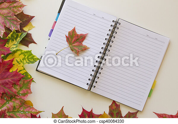 Open notebook with empty space for text, framed with autumn leaves. White background. Flat lay. Top view