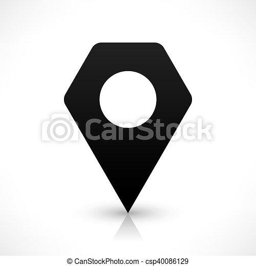 Black hexagon map pin sign blank location icon - csp40086129