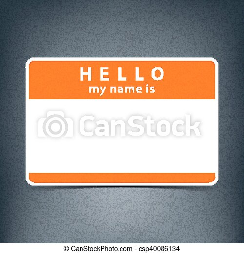 Blank name tag sticker HELLO - csp40086134