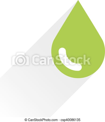 Green color drop icon with gray long shadow - csp40086135
