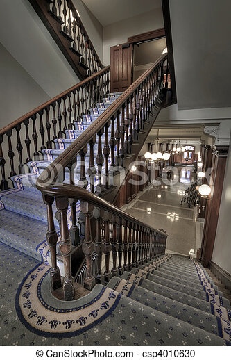 Old Staircase Into Hallway - csp4010630