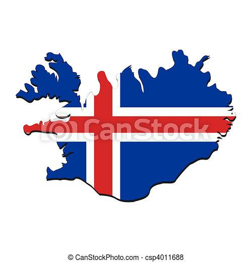 Islande Carte Et Drapeau