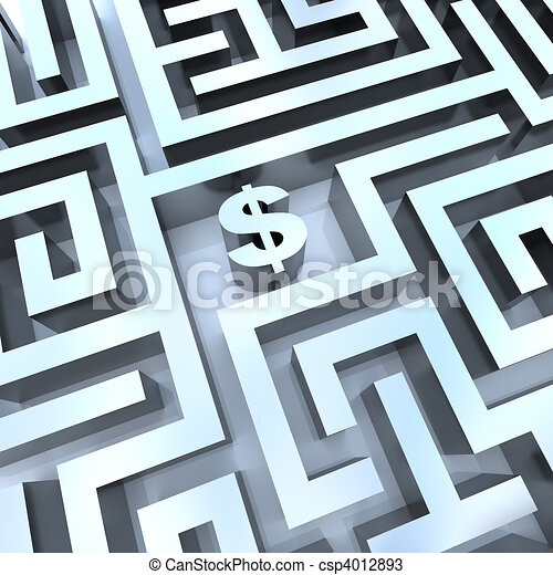 Money in Maze - Dollar Sign in Middle - csp4012893