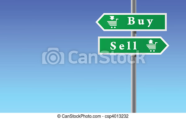 Arrows buy sell on sky background. - csp4013232