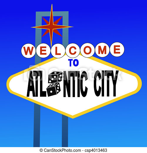 Drawings of welcome to Atlantic City sign with dice illustration ...