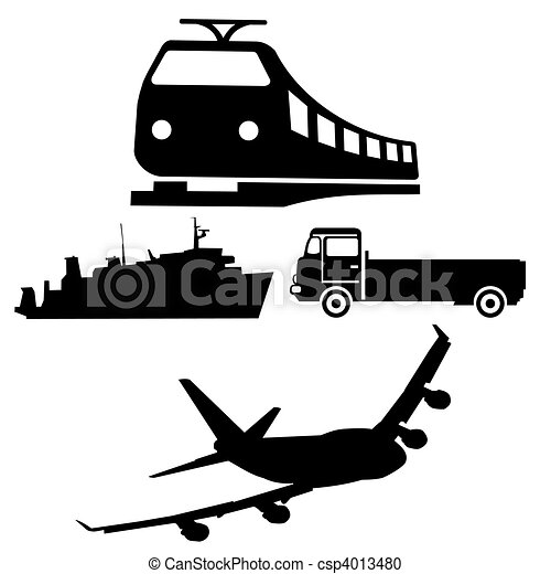 boat train truck and plane silhouettes - csp4013480