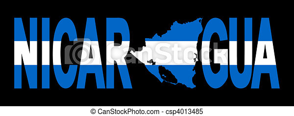 Nicaragua with map on flag - csp4013485