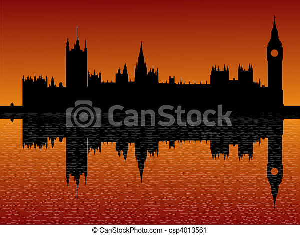 Houses of parliament London at dusk - csp4013561