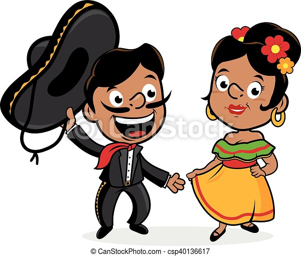 Vector Clip Art of Mexican mariachi man and woman wearing a ...