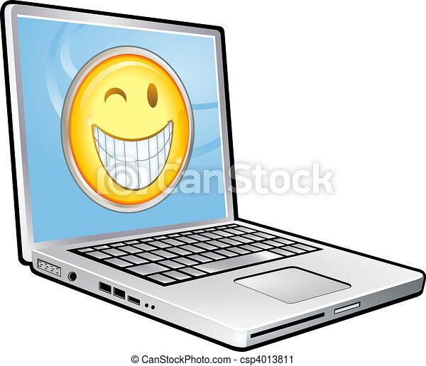 clipart de sourire ordinateur portable ordinateur portable sourire csp4013811 recherchez. Black Bedroom Furniture Sets. Home Design Ideas