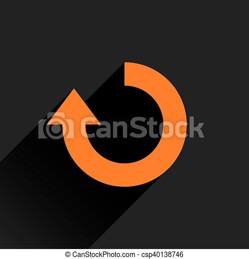 Flat orange arrow icon rotation, repeat sign - csp40138746