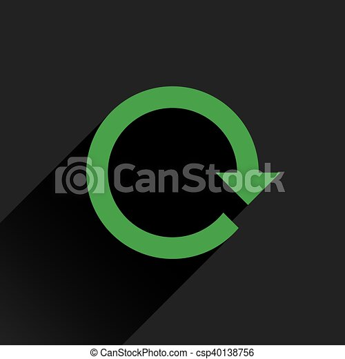 Flat green arrow icon rotation, reset, repeat sign - csp40138756