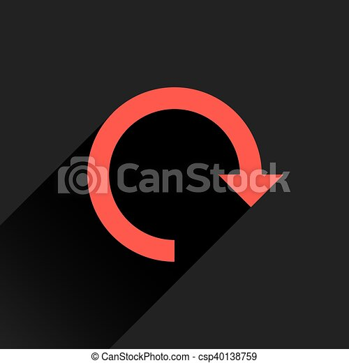 Flat red arrow icon rotation, reset, repeat sign - csp40138759