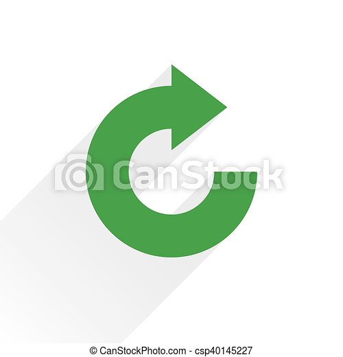 Flat green arrow icon rotation, reset sign - csp40145227