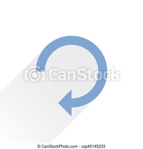 Flat blue arrow icon reset sign on white - csp40145233