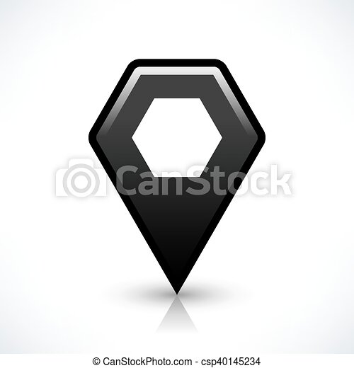 Black blank map pin sign hexagon location icon - csp40145234