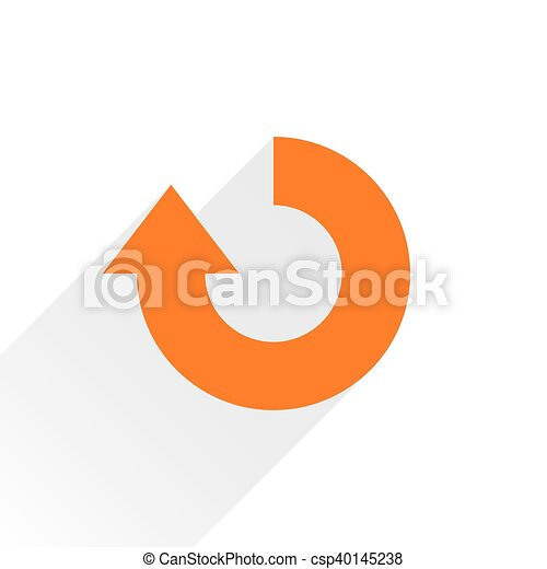 Flat orange arrow icon repeat sign on white - csp40145238