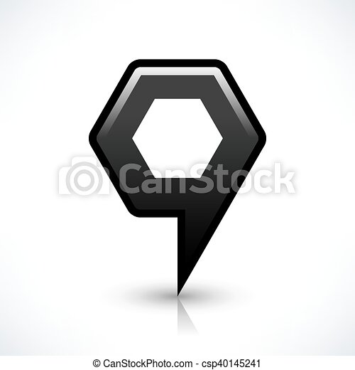 Black blank map pin sign hexagon location icon - csp40145241