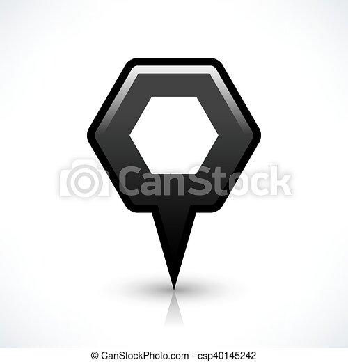 Black blank map pin sign hexagon location icon - csp40145242