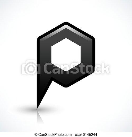 Black blank map pin sign hexagon location icon - csp40145244