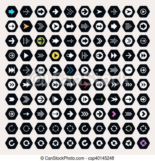 Arrow sign icon set on hexagon shapes - csp40145248