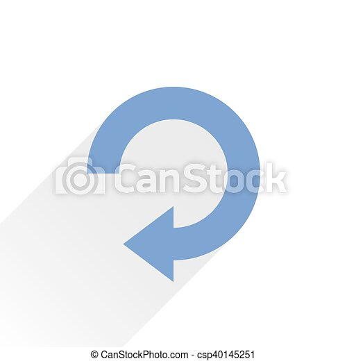 Flat blue arrow icon repeat sign on white - csp40145251