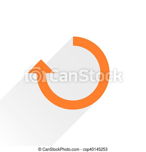 Flat orange arrow icon repeat sign on white - csp40145253