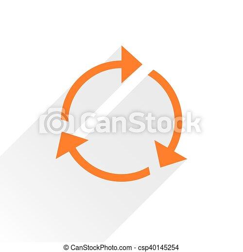 Flat orange arrow icon reload sign on white - csp40145254