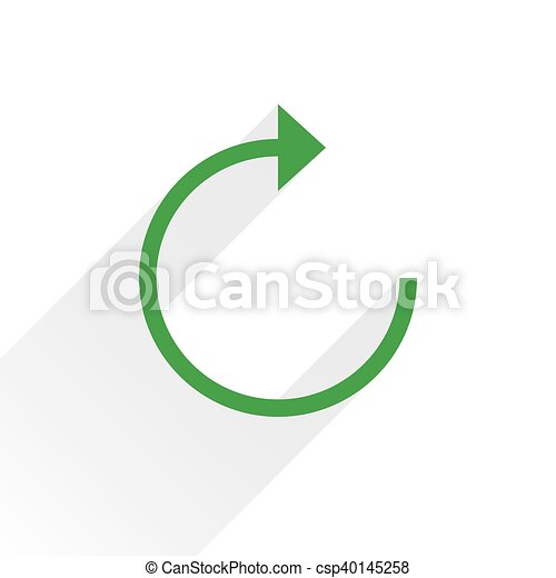 Flat green arrow icon reload sign on white - csp40145258