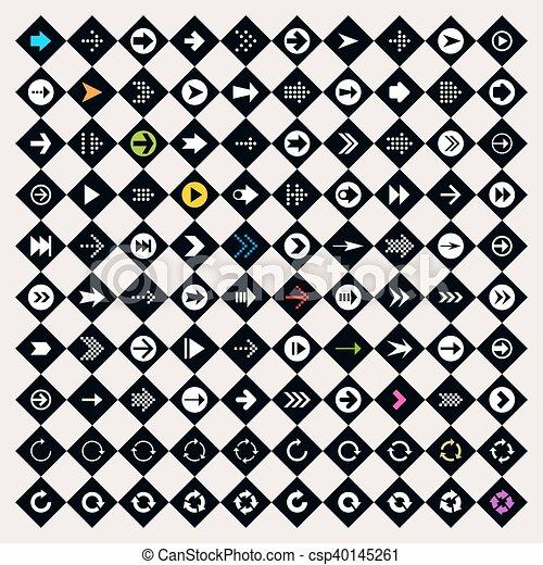 Arrow sign icon set on rhomb shapes - csp40145261