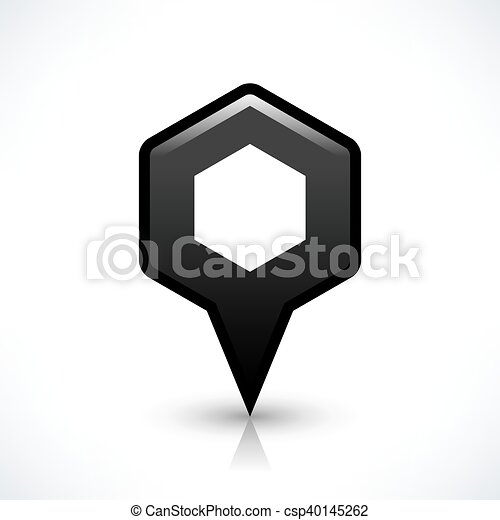 Black blank map pin sign hexagon location icon - csp40145262