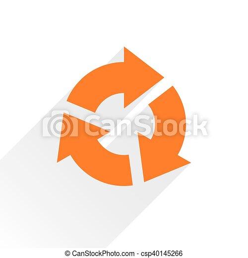 Flat orange arrow icon reset, repeat sign on white - csp40145266