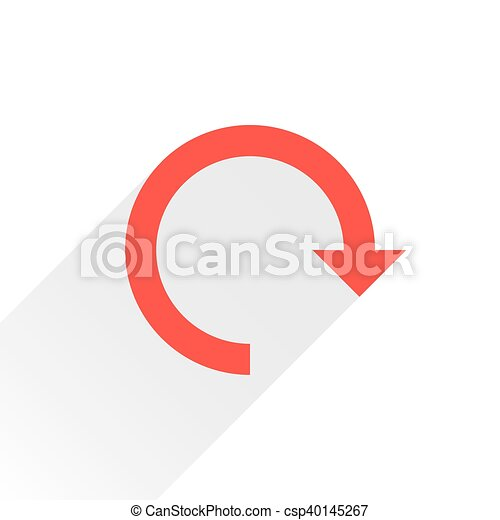 Flat red arrow icon reset sign on white - csp40145267