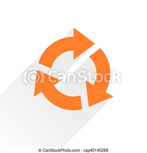 Flat orange arrow icon rotation sign on white - csp40145268