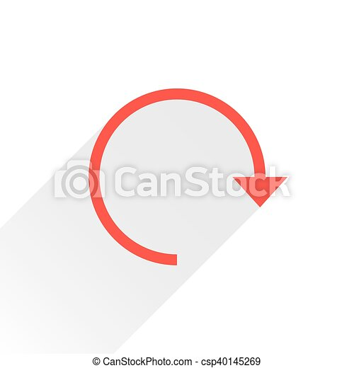 Flat red arrow icon reset sign on white background - csp40145269