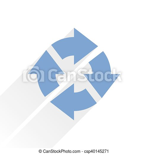 Flat blue arrow icon reload sign on white - csp40145271