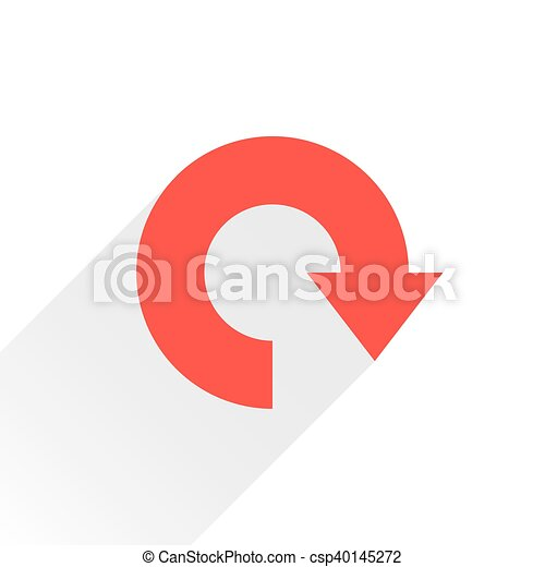 Flat red arrow icon reload, refresh, rotation sign - csp40145272