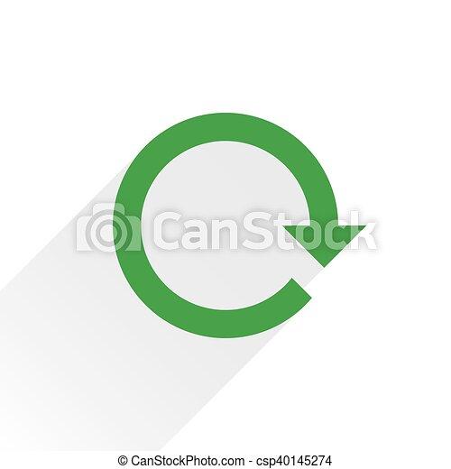 Flat green arrow icon reset sign on white - csp40145274