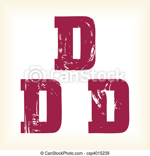 Grunge vector D letter - vector type alphabet - slab serif font - Vector art in EPS format. The different graphics are all on separate layers so they can easily be moved or edited individually. - csp4015239