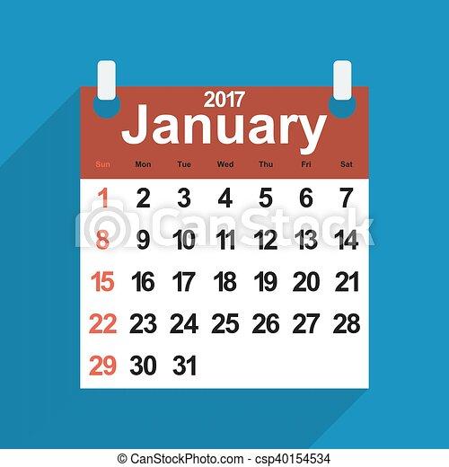 Vectores de hoja enero d as mes calendario 2017 - Mes de enero 2017 ...